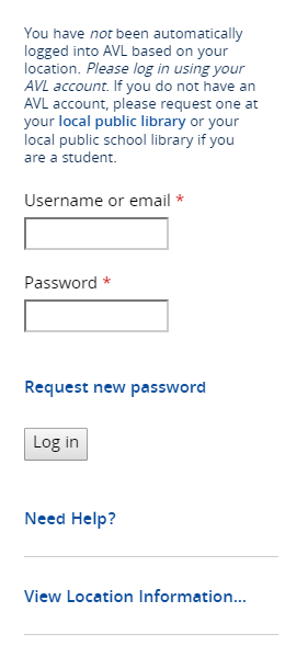 AVL login window