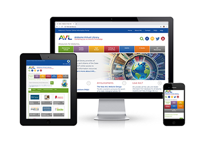 Graphic showing new AVL website on different devices; phone, tablet, full screen