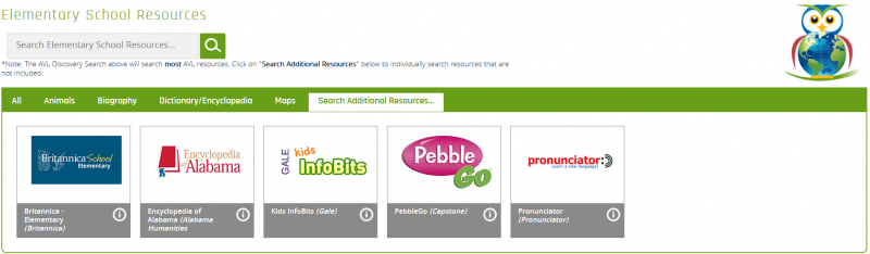 Image of the Search Additional Resources page for Elementary Resources