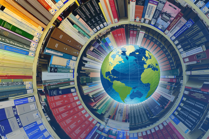 Reference bookshelves in spiral around stylized globe